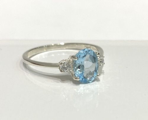 Silver Blue | Topaz And Cubic Zirconia | Trilogy Three Stone Ring